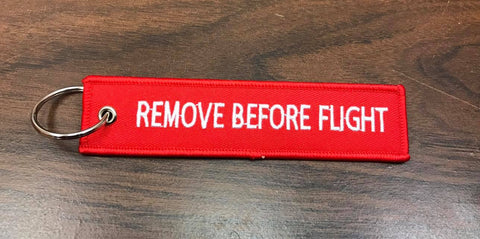Remove Before Flight Keychain - WoodPatch