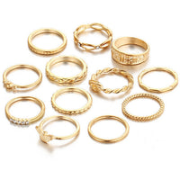 12 pc/set Vintage Charm Party Gold Finger Ring Set for Women.