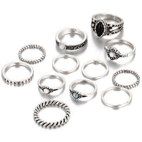 12pcs / sets Fashion Vintage Antique Boho Style Rings For Women