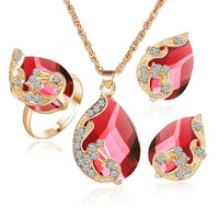 5 Color Crystal Peacock Bride Wedding Necklace Earrings Jewelry Sets,