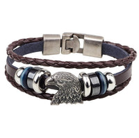 Handmade Alloy Eagle PU Leather Bracelets for Women