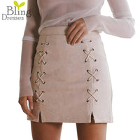 Spring and Summer Lace-up Suede High Waist Mini Pencil Skirt Skirt.