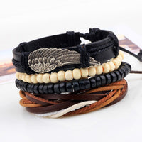 Handmade Alloy wing 4 layer Cowhide Leather Bracelets for Women