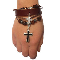 Handmade Leather Cross Pendent Bracelet of Faith.