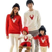 Deer Mark Red and White Family Matching Sweaters.