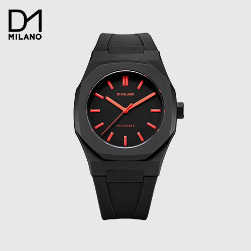 D1 Milano - Casual Watch Analog Silicone Black and Red