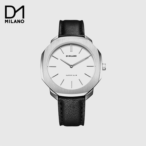 D1 Milano - Super Slim - Black & Silver with White Dial