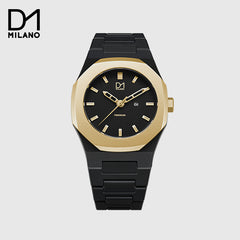 D1 Milano - Poly Carbonate Band - Black and Gold with Black Dial