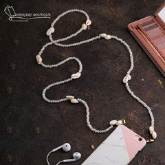 Chain for phones - white with shells