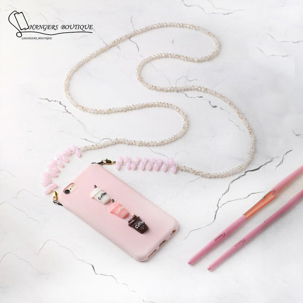 Chain for phones -  pink / white
