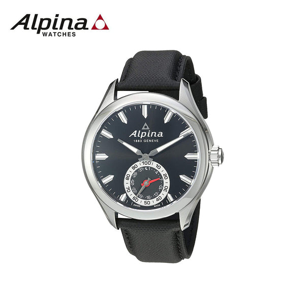 ALPINA - Horological Men s Black Dial Watch  with Leather Band