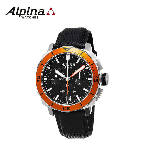 ALPINA - Seastrong Diver 300 Big Date Chronograph Black Dial Black Leather