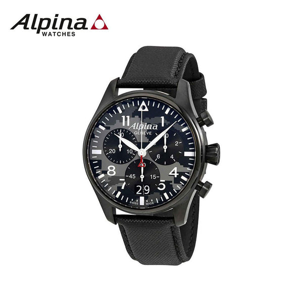 ALPINA - Startimer Pilot Chronograph Watch with Black Leather Strap