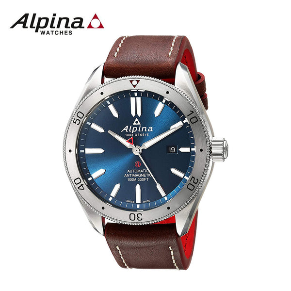 ALPINA - 4 Stainless Steel Automatic-self-Wind Watch with Leather Strap Brown