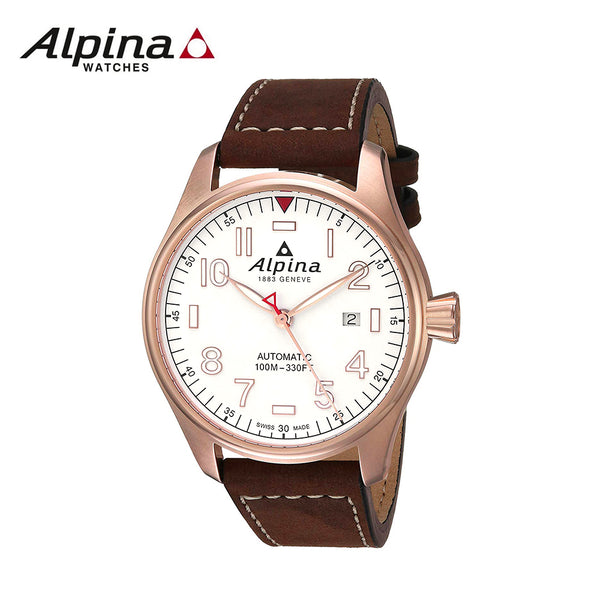 ALPINA - Star Timer Automatic Watch with Rose gold white dial and Brown Strap