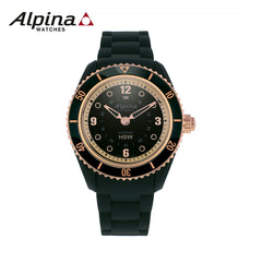 ALPINA - Comtesse Stainless Steel Swiss-Quartz Fitness Watch with Rubber Strap Black