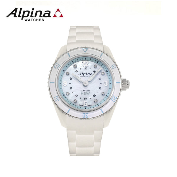 ALPINA - Comtesse Swiss Quartz Stainless Steel and Rubber White Watch