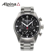 ALPINA - Chronograph Big Date Analog Display Quartz Silver-Tone watch