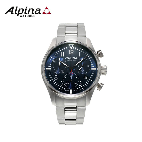 ALPINA - Startimer Pilot Chronograph Watch with Stainless-Steel Silver Strap