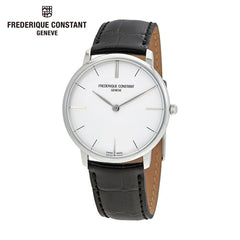 FREDERIQUE CONSTANT - Slim Line Analog Display Swiss Quartz White Dial Black Watch