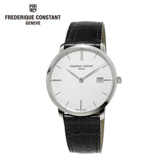FREDERIQUE CONSTANT - Slim Line Analog Display Silver Dial Black Watch