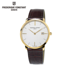 FREDERIQUE CONSTANT - Slimline Silver Dial with Black Leather Strap Watch