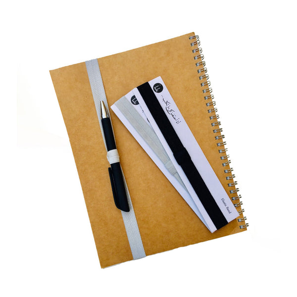 Notebook Elastic Band with pen loop - Grey