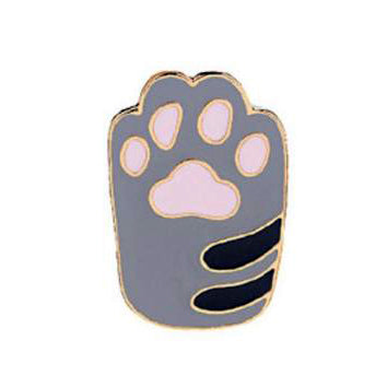 Pin - Grey With Baby Pink Cat Foot