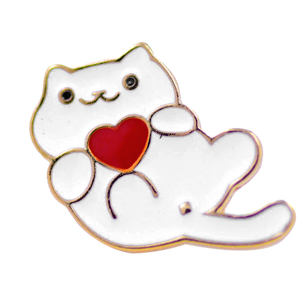 Pin - White Cat With Red Heart
