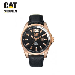 CATERPILLAR - black leather strap with black / rose gold dial watch