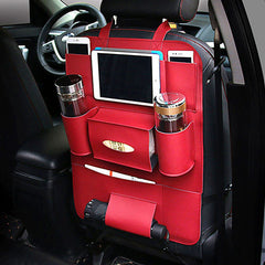 Leather Car Back Seat Organiser - Red