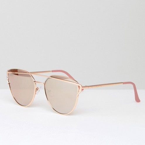 Southbeach Flat Lens Cat Eye Sunglasses with Gold Brow Bar