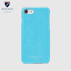 iPhone 7 Leather Cover - Aquamarine lizard