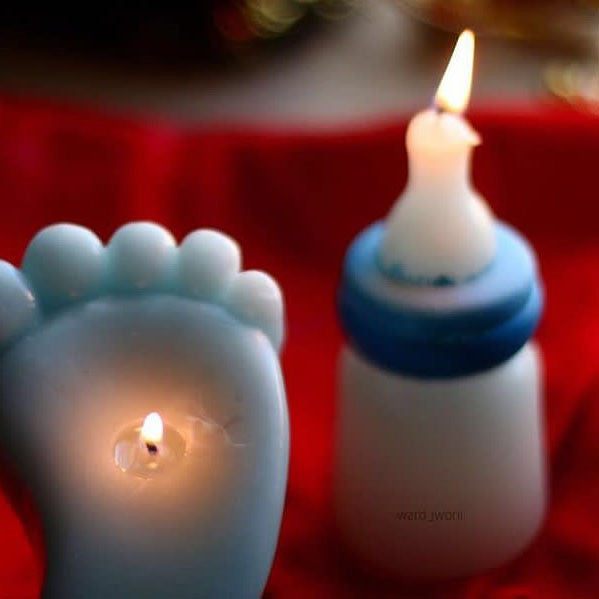 Feeding Bottle Candle - blue
