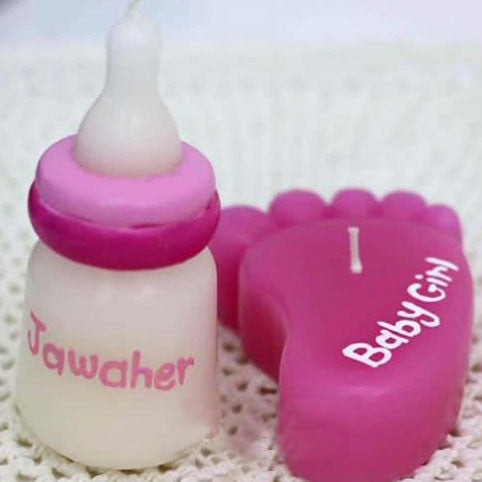 Feeding Bottle candle  - pink