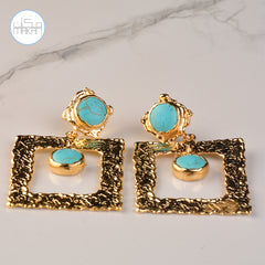 Earnings - Turquoise&Gold Stones