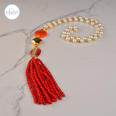 Necklace -  Red Tassel Pearl