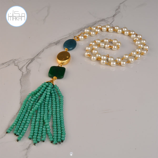 Necklace -  green Tassel	Pearl