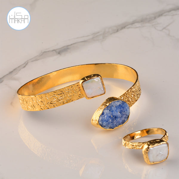 Bracelet & Ring Set - Blue Stone