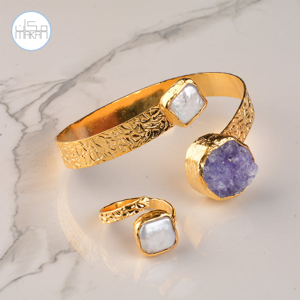 Bracelet & Ring Set - Purple Stone