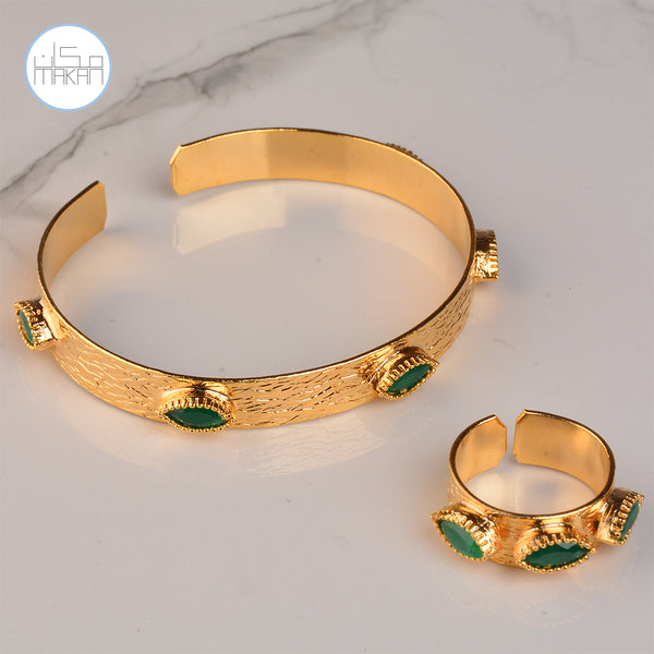 Bracelet & Ring Set - Green Stone
