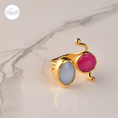 Ring - Blue & Pink Stones