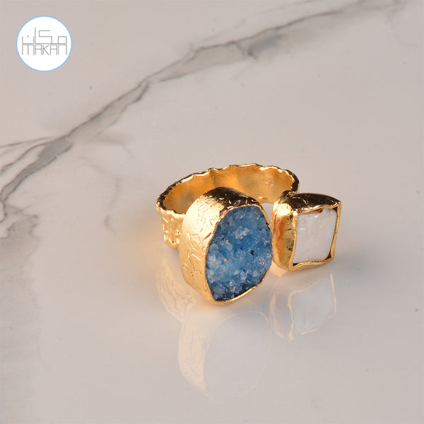 Ring -  Pearl & Blue Stone