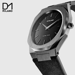 D1 MILANO - Italian Leather strap Grey / Black with Black Dial