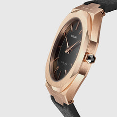 D1 Milano - Thin Black Dial Leather Black and Rose Gold