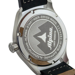 ALPINA - Star Timer Pilot Automatic Watch with Black Genuine Leather Strap