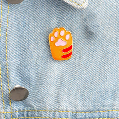 Pin - Yellow With Baby Pink Cat Foot