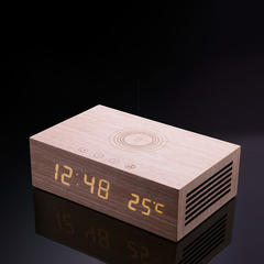 HOMTIME - Wooden Bluetooth Speaker with Alarm Clock and Wireless Charging Function.