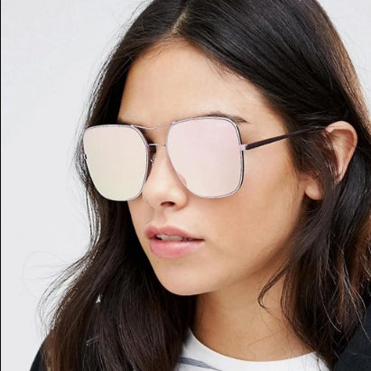 Quay Australia Stop and Stare Square Aviator with Pink Mirror