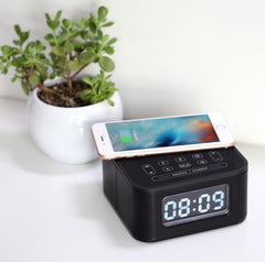 HOMTIME - Bluetooth Speaker with Alarm Clock and Wireless Charging Function.